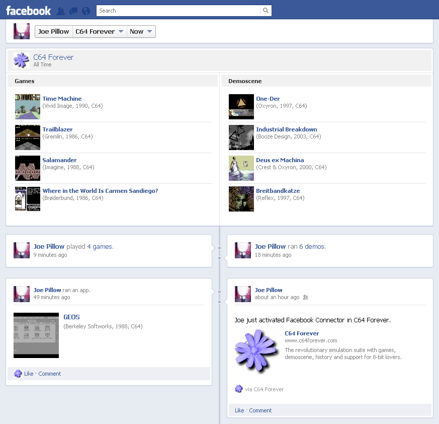 [ Social Features - Facebook Activity Timeline ]